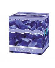 Платочки косметические №1 двухслойные Exstra Soft Голубые лепестки 80 шт