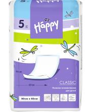 Одноразовые пелёнки для детей Baby Happy classic 90x60 5 шт