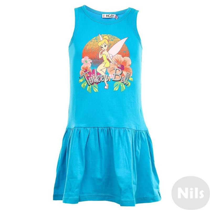 ПлатьеПлатье голубогоцвета марки INCITY для девочек.Трикотажное платье-маечка без рукавов выполнено из натурального хлопка. Платье имеет слегка заниженную линию талии и юбку в складочку. Платье украшено ярким принтом с феей Тинкербелл из мультфильма о Питере Пене от Disney.<br><br>Размер: 4 года<br>Цвет: Голубой<br>Рост: 104<br>Пол: Для девочки<br>Артикул: 632367<br>Страна производитель: Китай<br>Сезон: Весна/Лето<br>Состав: 100% Хлопок<br>Бренд: Россия