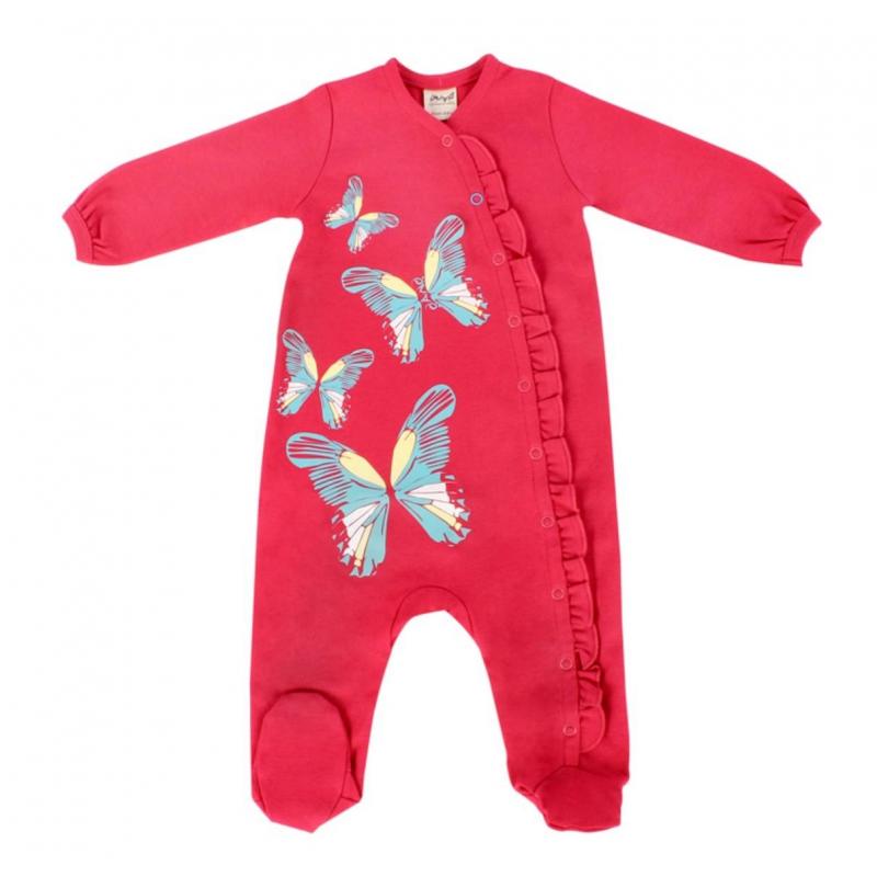 КомбинезонКомбинезон малиновогоцвета на кнопках марки Ёмаё для девочек. Выполнен из чистогохлопка, украшен принтом с изображением бабочек и милыми рюшами.<br>Трикотажный комбинезонс длиннымрукавом и закрытыми ножками имеет эластичные манжетыи воротничок, застегивается на кнопки спереди по всей длине.<br><br>Размер: 2 месяца<br>Цвет: Малиновый<br>Рост: 56<br>Пол: Для девочки<br>Артикул: 630107<br>Страна производитель: Россия<br>Сезон: Всесезонный<br>Состав: 100% Хлопок<br>Бренд: Россия<br>Вид застежки: Кнопки