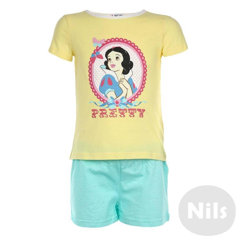 ПижамаПижама марки INCITY для девочек. Пижама выполнена из стопроцентного хлопка, состоит из футболки с коротким рукавом и коротких шортиков. Футболка желтого цвета украшена принтом с изображением Белоснежки, шортики светло-бирюзового цвета украшены рисунком в белый горошек.<br><br>Размер: 3 года<br>Цвет: Желтый<br>Рост: 98<br>Пол: Для девочки<br>Артикул: 632200<br>Бренд: Россия<br>Страна производитель: Китай<br>Сезон: Всесезонный<br>Состав: 100% Хлопок<br>Лицензия: Disney
