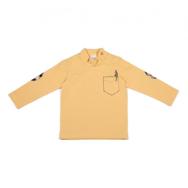 ВодолазкаВодолазка желтогоцвета марки Ёмаё для мальчиков. Водолазкас длинным рукавом сшита из хлопкового трикотажа, застегивается на кнопки на плече.Водолазка украшена принтом, имитирующим нагрудный кармашек и декоративные заплатки на локтях.<br><br>Размер: 12 месяцев<br>Цвет: Желтый<br>Рост: 80<br>Пол: Для мальчика<br>Артикул: 630231<br>Страна производитель: Россия<br>Сезон: Всесезонный<br>Состав: 92% Хлопок, 8% Эластан<br>Бренд: Россия<br>Вид застежки: Кнопки