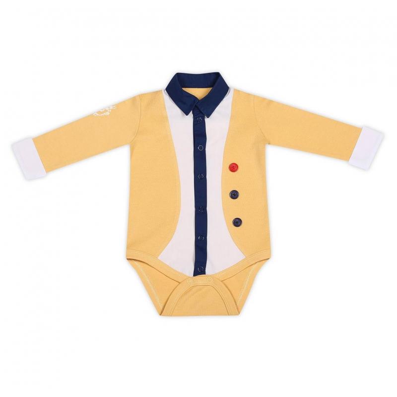 БодиБоди желтогоцвета марки Ёмаё для мальчиков.Боди с длинными рукавами выполнено из хлопкового трикотажа с белыми вставками в виде воротничка и манжет. Декоративные элементы и вставки имитируют нарядный костюмчик. Боди застегивается на кнопки снизу и спереди по всей длине.<br><br>Размер: 3 месяца<br>Цвет: Желтый<br>Рост: 62<br>Пол: Для мальчика<br>Артикул: 630279<br>Страна производитель: Россия<br>Сезон: Всесезонный<br>Состав: 100% Хлопок<br>Бренд: Россия<br>Вид застежки: Кнопки