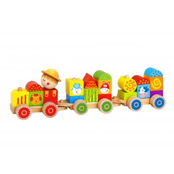 Игрушки, Деревянный поезд Ферма Tooky Toy 269146, фото