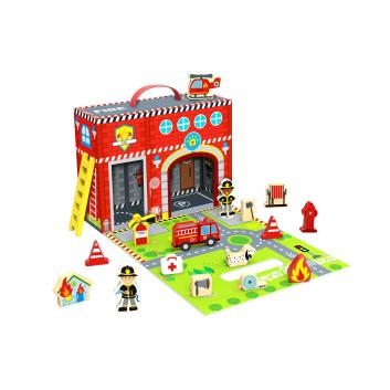 Игрушки, Чемоданчик Пожарная станция Tooky Toy 269186, фото