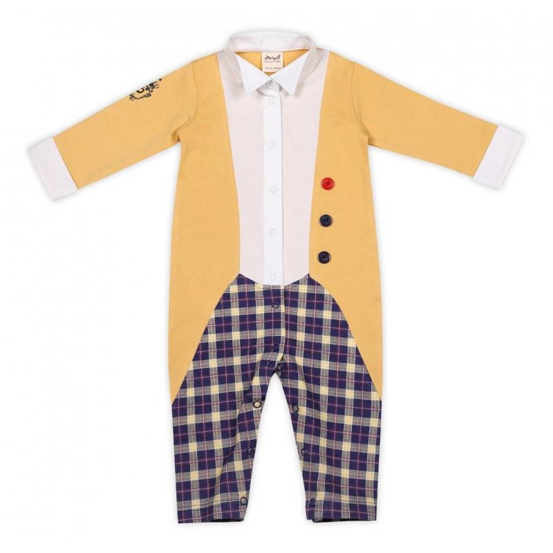 КомбинезонКомбинезон желтогоцвета марки Ёмаё для мальчиковвыполнен из чистого хлопка. Вставки из ткани разного цвета имитируют желтый фрак, белую рубашку и брючки в сине-желтую клетку. По всей длине и шаговому шву имеются кнопки для удобства переодевания малыша.<br><br>Размер: 2 месяца<br>Цвет: Желтый<br>Рост: 56<br>Пол: Для мальчика<br>Артикул: 630299<br>Страна производитель: Россия<br>Сезон: Всесезонный<br>Состав: 100% Хлопок<br>Бренд: Россия<br>Вид застежки: Кнопки