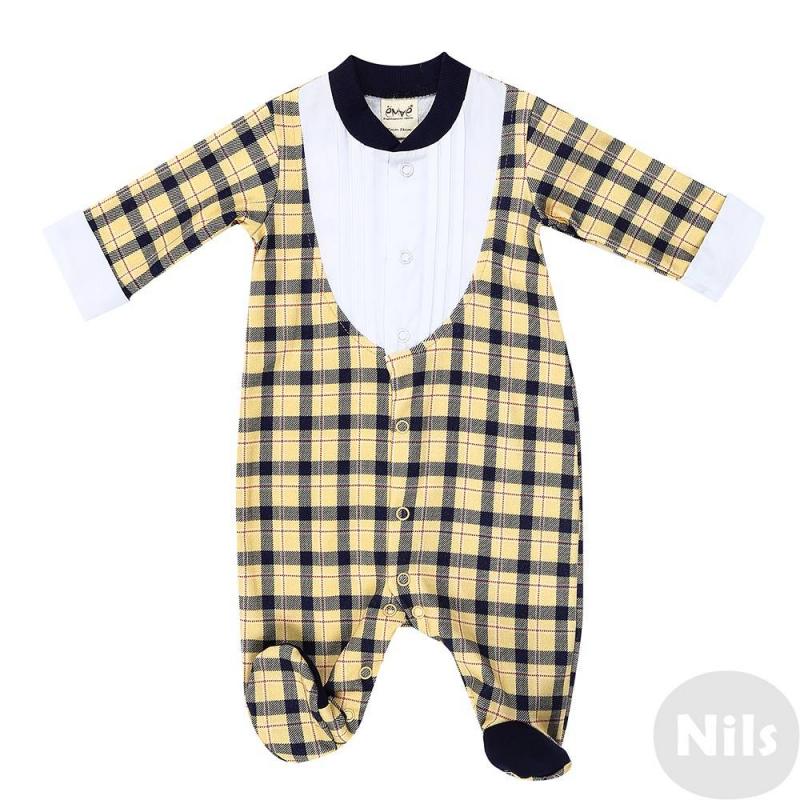 КомбинезонКомбинезон желтогоцвета марки Ёмаё для мальчиков.Комбинезон в клеточку сзакрытыминожками и длинными рукавами выполнен из чистого хлопка, застегивается на кнопки спереди по всей длине, а также по шаговому шву. Вставки белого цвета в виде нарядного воротничка и манжетимитируют стильный костюмчик.<br><br>Размер: 9 месяцев<br>Цвет: Желтый<br>Рост: 74<br>Пол: Для мальчика<br>Артикул: 630265<br>Страна производитель: Россия<br>Сезон: Всесезонный<br>Состав: 100% Хлопок<br>Бренд: Россия<br>Вид застежки: Кнопки
