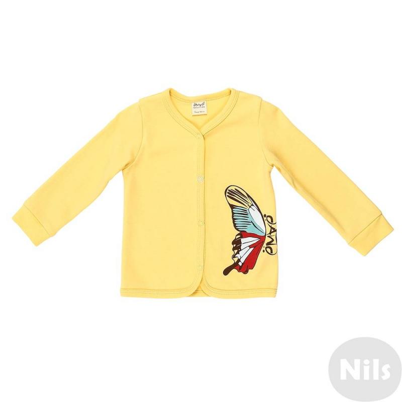 КофточкаКофточкана кнопках желтогоцвета марки Ёмаё для девочек.Кофточка с длинным рукавом выполнена из мягкого хлопкового трикотажа и украшена ярким принтом с изображением бабочки.<br><br>Размер: 18 месяцев<br>Цвет: Желтый<br>Рост: 86<br>Пол: Для девочки<br>Артикул: 630045<br>Страна производитель: Россия<br>Сезон: Всесезонный<br>Состав: 100% Хлопок<br>Бренд: Россия<br>Вид застежки: Кнопки