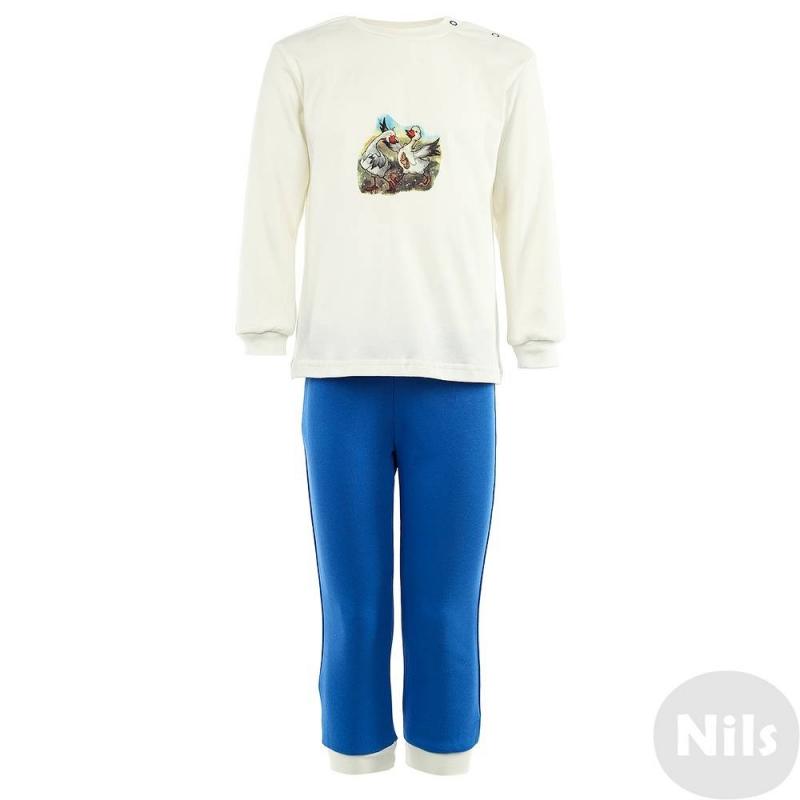 ПижамаПижамамолочного цвета марки Милуша по лицензии Nils. Пижама для мальчиков выполненаиз стопроцентного хлопка, украшена авторским принтом с изображением веселых гусей. Принт был создан детской художницей Викторией Кирдий специально для коллекции Nils.<br>Пижама состоит из футболки с длинным рукавом и брючек синего цвета. Рукава и штанины дополнены эластичными манжетами. Кнопочная застежка на плече облегчает процесс переодевания.<br>Вещьсохраняет безупречный внешний вид после многочисленных стирок, принты выдерживают глажку при высокой температуре.<br><br>Размер: 7 лет<br>Цвет: Бежевый<br>Рост: 122<br>Пол: Для мальчика<br>Артикул: 629957<br>Страна производитель: Россия<br>Сезон: Всесезонный<br>Состав: 100% Хлопок<br>Бренд: Россия<br>Вид застежки: Кнопки
