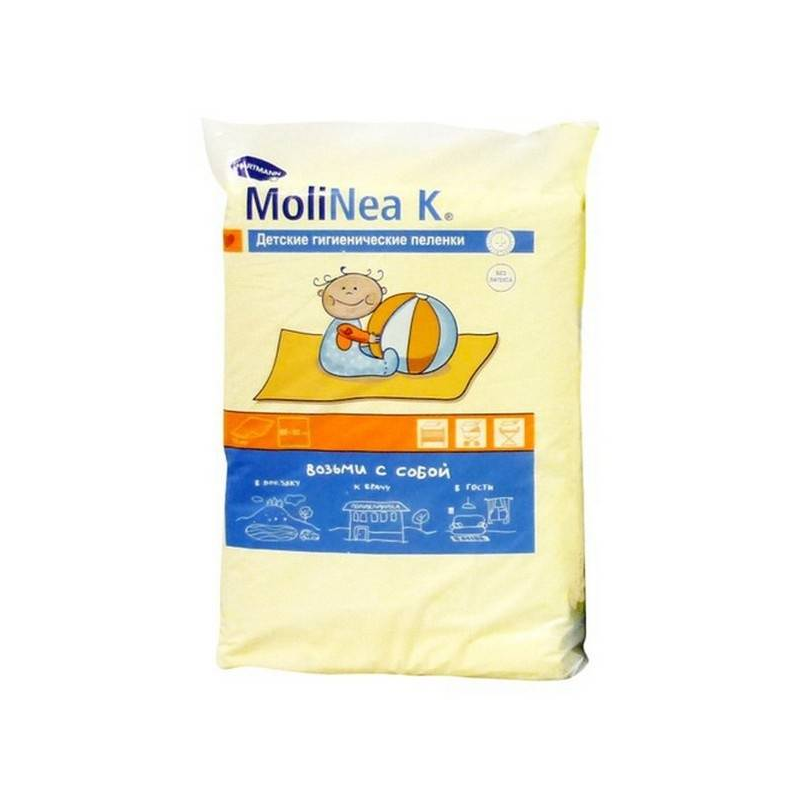 Впитывающие пеленки MoliNea K размер 60 x 90 см 10 штМягкий верхний слой этих впитывающих клеенок покрыт нетканым материалом, который быстро впитывает влагу и проводит ее во внутренний слой, оставляя поверхность сухой. Внутренний слой изготовлен из распушенной целлюлозы. Впитывающие пеленки Hartmann Molinea не скользят по поверхности, не создают складок, которые могут травмировать нежную кожу малыша. Нижний полиэтиленовый слой не скользит, что очень удобно при использовании этих пеленок вне дома.Впитывающие пеленки Hartmann MOLINEA прошли дерматологические исследования, поэтому они абсолютно безвредны для кожи малыша.Изделие рекомендуется использовать во время прогулок, поездок, при посещении детских учреждений, для домашнего применения, при проведении диагностических или гигиенических процедур.В комплект входят:10 одноразовых пеленок.<br><br>Возраст от: 0 месяцев<br>Пол: Не указан<br>Артикул: 628109<br>Страна производитель: Испания<br>Бренд: Германия<br>Размер: от 0 месяцев<br>Кол-во в упаковке: 10 шт.