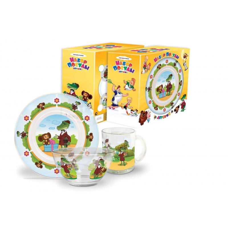 Набор посуды Чебурашка и Крокодил Гена 3 пр. (Союзмультфильм)