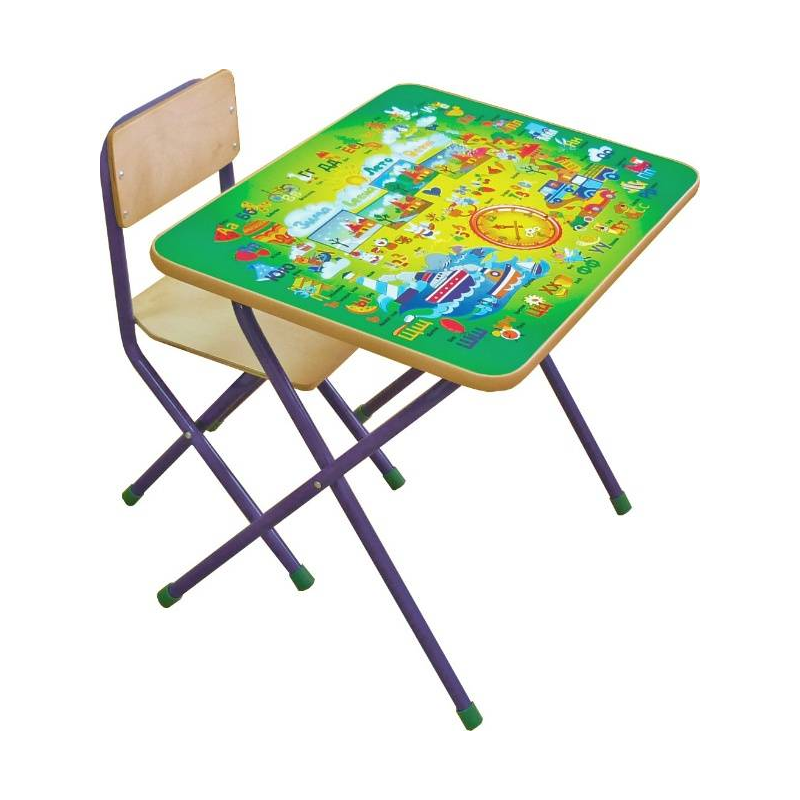 Комплект детской мебели АлфавитВ 3-4 года ребенок уже активно начинает рисовать, лепить, учиться счету и алфавиту. Удобнее всего всем этим заниматься за столом. Комплект мебели «Алфавит» (зеленый) учитывает анатомические особенности ребенка, поэтому ему будет удобно сидеть и заниматься.Мебель сделана из металла и ЛДСП. Металлические детали покрыты устойчивой порошковой краской, что позволяет столу и стулу весь эксплуатационный период сохранять первоначальный внешний вид. Конструкция стола складная, мебель можно легко передвигать. Перед началом эксплуатации убедитесь в надежности и правильности сборки комплекта.Материал: столешница - ЛДСП с наклейкой (алфавит и цифры), ножки - сталь, сидение - фанера.<br>Размеры: стул - 31?27?56 см, стол - 60?45?52 см, высота сидения - 30 см.<br>Максимальная нагрузка на стол: 30 кг.<br>Максимальная нагрузка на стул: 40 кг.<br>Вес комплекта мебели: 5,50 кг.<br><br>Цвет: Зеленый<br>Возраст от: 4 года<br>Пол: Не указан<br>Артикул: 628620<br>Страна производитель: Россия<br>Бренд: Россия<br>Размер: от 4 лет