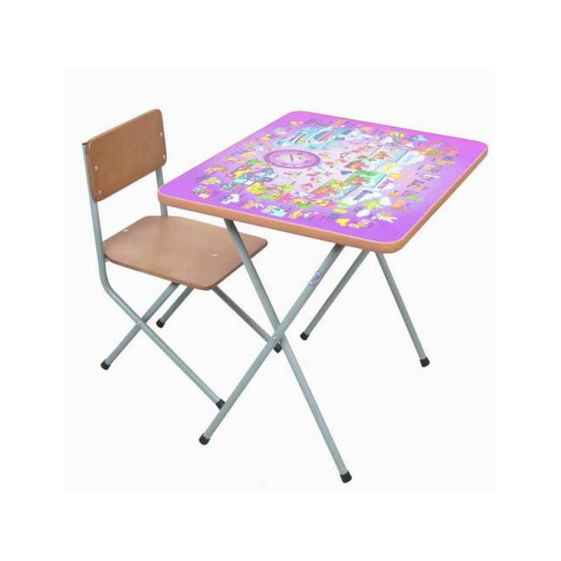 Комплект детской мебели АлфавитВ 3-4 года ребенок уже активно начинает рисовать, лепить, учиться счету и алфавиту. Удобнее всего всем этим заниматься за столом. Комплект мебели «Алфавит» (сиреневый) учитывает анатомические особенности ребенка, поэтому ему будет удобно сидеть и заниматься.Мебель сделана из металла и ЛДСП. Металлические детали покрыты устойчивой порошковой краской, что позволяет столу и стулу весь эксплуатационный период сохранять первоначальный внешний вид. Конструкция стола складная, мебель можно легко передвигать. Перед началом эксплуатации убедитесь в надежности и правильности сборки комплекта.Материал: столешница - ЛДСП с наклейкой (алфавит и цифры), ножки - сталь, сидение - фанера.<br>Размеры: стул - 31?27?56 см, стол - 60?45?52 см, высота сидения - 30 см.<br>Максимальная нагрузка на стол: 30 кг.<br>Максимальная нагрузка на стул: 40 кг.<br>Вес комплекта мебели: 5,50 кг.<br><br>Цвет: Сиреневый<br>Возраст от: 4 года<br>Пол: Не указан<br>Артикул: 628623<br>Страна производитель: Россия<br>Бренд: Россия<br>Размер: от 4 лет<br>Возрастная группа: Дошкольники