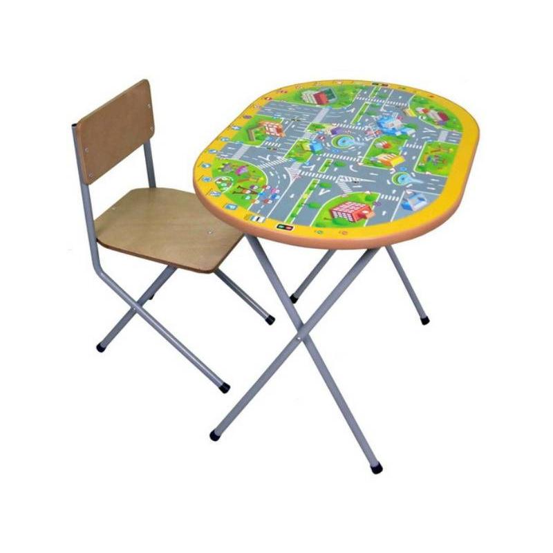 Комплект детской мебели ПДДВ 3-4 года ребенок уже активно начинает рисовать, лепить, учиться счету и алфавиту. Удобнее всего всем этим заниматься за столом. Комплект мебели «ПДД» учитывает анатомические особенности ребенка, поэтому ему будет удобно сидеть и заниматься. На этом столике наклеена большая картинка, по которой можно изучать правила дорожного движения.Мебель сделана из металла и ЛДСП. Металлические детали покрыты устойчивой порошковой краской, что позволяет столу и стулу весь эксплуатационный период сохранять первоначальный внешний вид. Конструкция стола складная, мебель можно легко передвигать. Перед началом эксплуатации убедитесь в надежности и правильности сборки комплекта.Материал: столешница - ЛДСП с наклейкой (правила дорожного движения), ножки - сталь, сидение - фанера.<br>Размеры: стул - 27,6?25?50 см, стол - 45?60?46 см.<br>Максимальная нагрузка на стол: 30 кг.<br>Максимальная нагрузка на стул: 40 кг.<br>Вес комплекта мебели: 5,50 кг.<br><br>Цвет: Оранжевый<br>Возраст от: 4 года<br>Пол: Не указан<br>Артикул: 628624<br>Страна производитель: Россия<br>Бренд: Россия<br>Размер: от 4 лет<br>Возрастная группа: Дошкольники