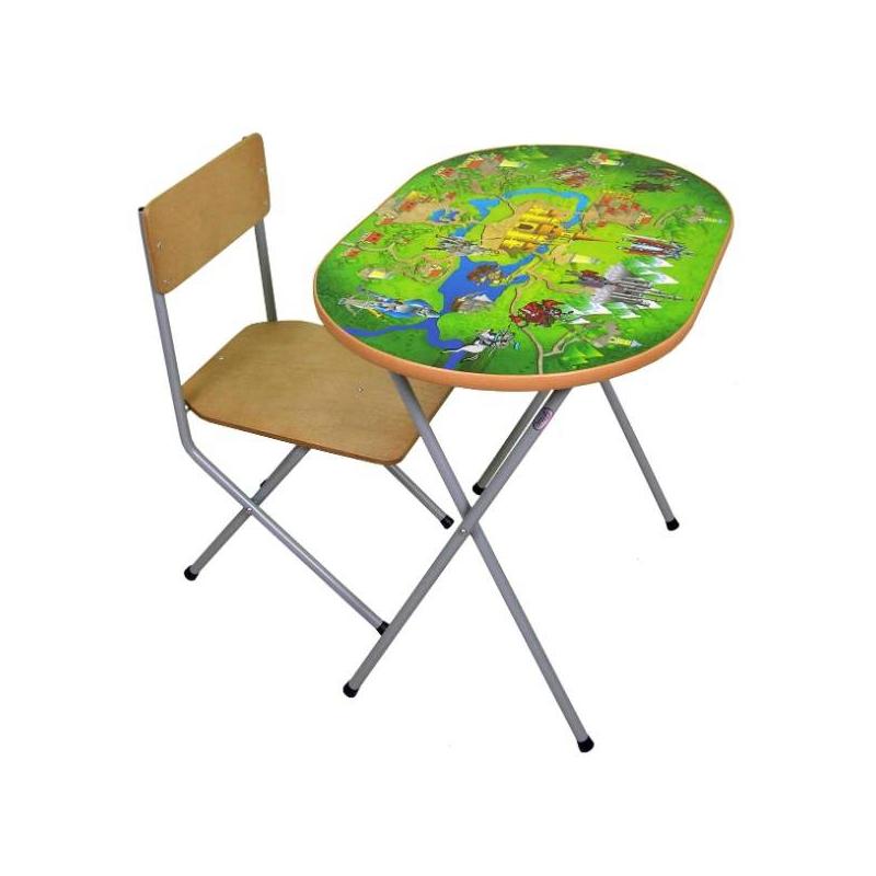 Комплект детской мебелиВ 3-4 года ребенок уже активно начинает рисовать, лепить, учиться счету и алфавиту. Удобнее всего всем этим заниматься за столом. Комплект мебели «Досуг №102» учитывает анатомические особенности ребенка, поэтому ему будет удобно сидеть и заниматься.Мебель сделана из металла и ЛДСП. Металлические детали покрыты устойчивой порошковой краской, что позволяет столу и стулу весь эксплуатационный период сохранять первоначальный внешний вид. Конструкция стола складная, мебель можно легко передвигать. Перед началом эксплуатации убедитесь в надежности и правильности сборки комплекта.Материал: столешница - ЛДСП с наклейкой, ножки - сталь, сидение - фанера.<br>Размеры: стол - 60?45?46 см, высота сидения - 26 см.<br>Максимальная нагрузка на стол: 30 кг.<br>Максимальная нагрузка на стул: 40 кг.<br>Вес комплекта мебели: около 6 кг.<br><br>Возраст от: 3 года<br>Пол: Не указан<br>Артикул: 628629<br>Страна производитель: Россия<br>Бренд: Россия<br>Размер: от 3 лет