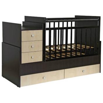 Кроватка детская 1200 венге-клен