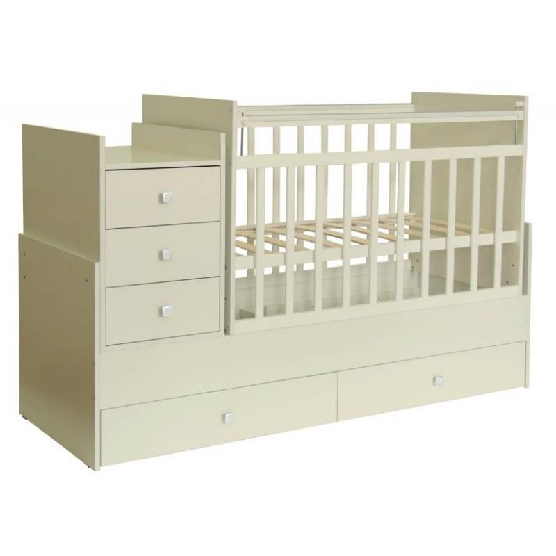 Кровать детскаяДетская кроватка «Фея» (цвет слоновая кость)прекрасно подойдет для комнат малой площади. Она легко трансформируется из детской кроватки в кровать для подростка - длина ложа достигает 170 см.Кровать-трансформер:- тумба с тремя выдвижными ящиками;- механизм опускания планки «Ушко»;- поверхность для пеленания с бортиками;- 2 выдвижных вместительных ящика;- 2 уровня регулировки высоты ложа;- трансформируется из детской в подростковую кровать;- оснащена механизмом качания «маятник поперечный».Кроватка детская Фея 1200 выполнена в светло-бежевом цвете, который позволяет ей органично вписаться в интерьер детской комнаты. Ортопедическое ложе способствует правильному развитию малыша.<br>Материал:ЛДСП, пластик.<br>Размеры кроватки (д?ш?в): 173,2?68?108,7 см. Размер детского ложа: 60?120 см. Размер подросткового ложа: 60?170 см. Размер тумбы: 50?68 см. Вес: 66 кг.<br>Срок службы изделия: 7 лет.<br>Обратите внимание, изделие поставляется в разобранном виде - необходима дополнительная сборка (комплектующие входят в комплект).<br><br>Цвет: Бежевый<br>Возраст от: 0 месяцев<br>Пол: Не указан<br>Артикул: 629387<br>Страна производитель: Россия<br>Бренд: Россия<br>Размер: от 0 месяцев