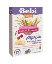 Каша Junior молочная с вишней и бананом из 4 злаков с 12 мес. 200 г