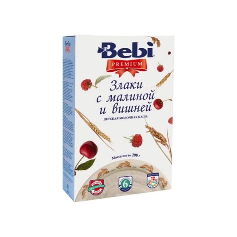 Bebi Каша Premium молочная злаки с малиной и вишней с 6 мес. 200 г