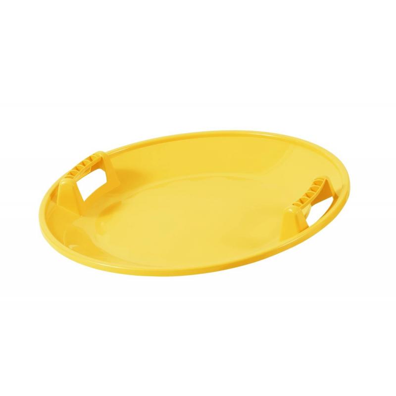 Санки-тарелкаСанки-тарелка желтого цвета маркиOrthex.Главной особенностью этой модели является возможность раскручиваться вокруг своей оси во время спуска, развивая головокружительную скорость. Помимо этого санки отличаются прочностью, маневренностью, долговечностью, морозоустойчивостью, а также легкой управляемостью и ярким дизайном.Размеры: длина - 65см,ширина - 65см,высота - 17см.Вес: 0,950 кг.Средний срок службы при интенсивном использовании составляет 10 лет.<br><br>Цвет: Желтый<br>Возраст от: 6 лет<br>Пол: Не указан<br>Артикул: 632987<br>Страна производитель: Финляндия<br>Сезон: Осень/Зима<br>Бренд: Финляндия<br>Вес: 1 кг.<br>Размер: от 6 лет<br>Материал: Морозостойкий ударопрочный полиэтилен