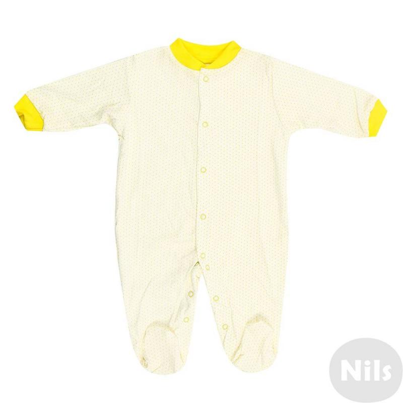 КомбинезонКомбинезонжелтогоцвета марки Фрешстайл для малышей.Комбинезон выполнен из стопроцентного хлопка, имеет длинные рукава и закрытые ножки, застегивается по всей длине спереди и по шаговому шву для удобства переодевания малыша. Комбинезон украшен принтом с рисунком в горошек, воротничок и манжеты выделены желтымцветом.<br><br>Размер: 9 месяцев<br>Цвет: Желтый<br>Рост: 74<br>Пол: Не указан<br>Артикул: 631446<br>Страна производитель: Россия<br>Сезон: Всесезонный<br>Состав: 100% Хлопок<br>Бренд: Россия<br>Вид застежки: Кнопки