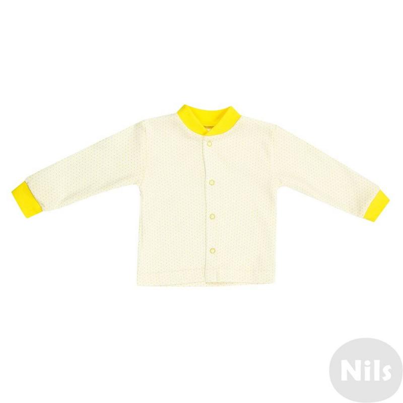 КофточкаКофточкажелтогоцвета от марки Фрешстайл длямалышей.Кофточка с длинными рукавами в мелкий горошек желтого цвета выполнена из мягкого хлопкового трикотажа.Отделка манжет и воротничка также желтогоцвета. Застегивается кофточка на кнопки.<br><br>Размер: 9 месяцев<br>Цвет: Желтый<br>Рост: 74<br>Пол: Не указан<br>Артикул: 631453<br>Страна производитель: Россия<br>Сезон: Всесезонный<br>Состав: 100% Хлопок<br>Бренд: Россия<br>Вид застежки: Кнопки