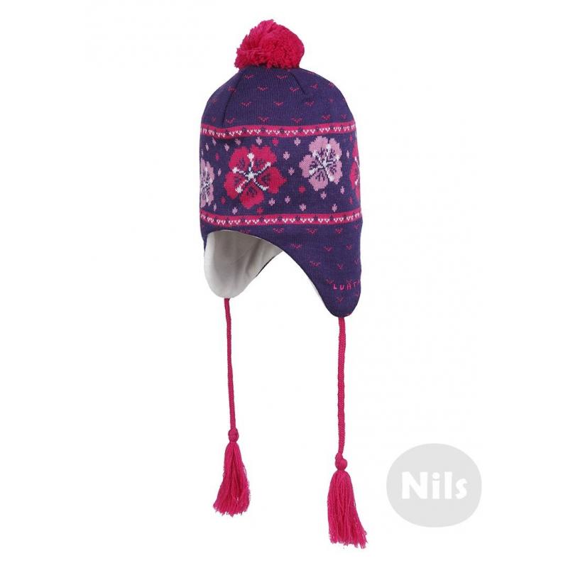 ШапкаФиолетоваяшерстяная шапка на подкладке марки LUHTA для девочек. Теплая шапка из полушерстяного трикотажа с вязаным рисунком дополнена мягкой флисовой подкладкой с утеплителем в области ушей и удобными завязками с кисточками.<br><br>Размер: 2 года<br>Цвет: Фиолетовый<br>Размер: 48<br>Пол: Для девочки<br>Артикул: 603423<br>Страна производитель: Китай<br>Состав: 50% Шерсть, 50% Акрил<br>Состав подкладки: 100% Полиэстер<br>Бренд: Финляндия
