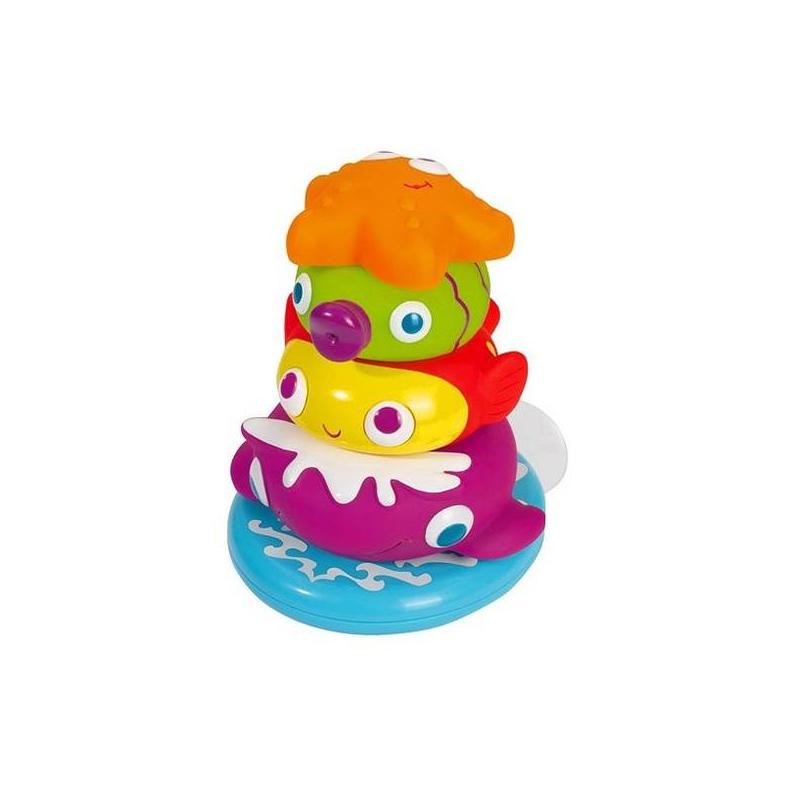 Пирамидка с животнымиРазвивающая игрушка Пирамидка с животными марки Simba.<br>Пирамидка с животными Simba – это классическая развивающая игрушка для детей от 12 месяцев, которая обладает комплексным развивающим действием и просто повышает настроение малыша.Пирамидка с животными включает в себя четыре ярких привлекательных элемента – зеленая рыбка, красная рыбка, морская звезда, фиолетовый кит. Игрушки могут быть расположены на основном стержне в любом порядке, животные выполненные в форме колец одновременно являются брызгалками. Основная часть пирамидки – стержень – снабжена специальной присоской, которую можно крепить к кафелю в ванной.<br>Высота пирамидки – 13,5 см.<br><br>Возраст от: 12 месяцев<br>Пол: Не указан<br>Артикул: 630620<br>Бренд: Германия<br>Размер: от 12 месяцев