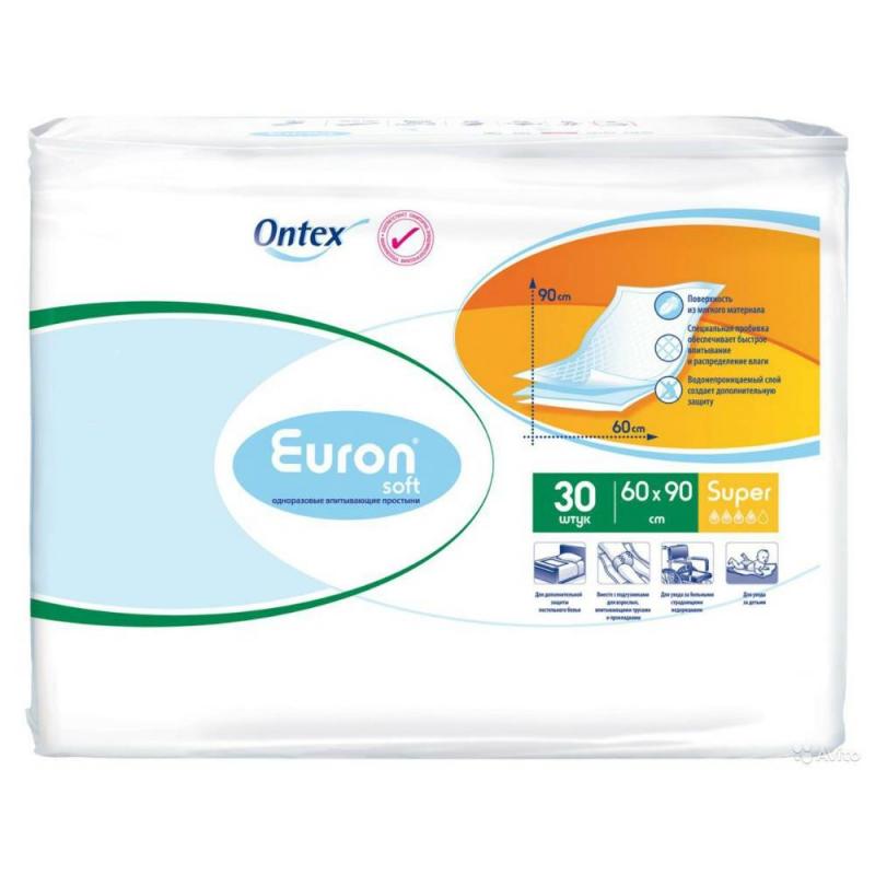 Пеленки Soft Super 60*90 30 штПеленки – это одна из незаменимых вещей в уходе за малышом. Специальные пеленки Euron Soft помогут мамам позаботиться о гигиене малыша в любом месте, в любое время.Пеленки можно использовать в качестве подложки в кроватку или коляску, на приеме у педиатра, при пеленании и смене подгузника, в путешествии.Пеленки Euron будут полезны и для взрослых:во время визита к врачу;при уходе за «лежачими» больными;для ухода за пожилыми людьми;в первые дни после родов.Пеленки одноразовые, что очень удобно и гигиенично – сразу после использования их можно выбросить. Мягкая поверхность пеленок Euron не вызовет раздражения чувствительной кожи малышей, она приятна на ощупь. При наполнении пеленка остается ровной, не образуя неровностей и бугров, что поможет избежать пролежней.Влага, которая попадает на пеленку мгновенно впитывается и надежно удерживается внутри, не пропуская запах. Нижний слой пеленки полностью водонепроницаем, поэтому вы можете не беспокоиться – кроватки и коляски останутся сухими и чистыми.Количество в упаковке: 30 штук.Степень впитываемости: Супер (4 из 5 капель).Размер пеленки: 60*90 см.Материал: нетканый мягкий материал, абсорбирующий слой из целлюлозы, полиэтилен.<br><br>Возраст от: 0 месяцев<br>Пол: Не указан<br>Артикул: 628814<br>Бренд: Бельгия<br>Размер: от 0 месяцев