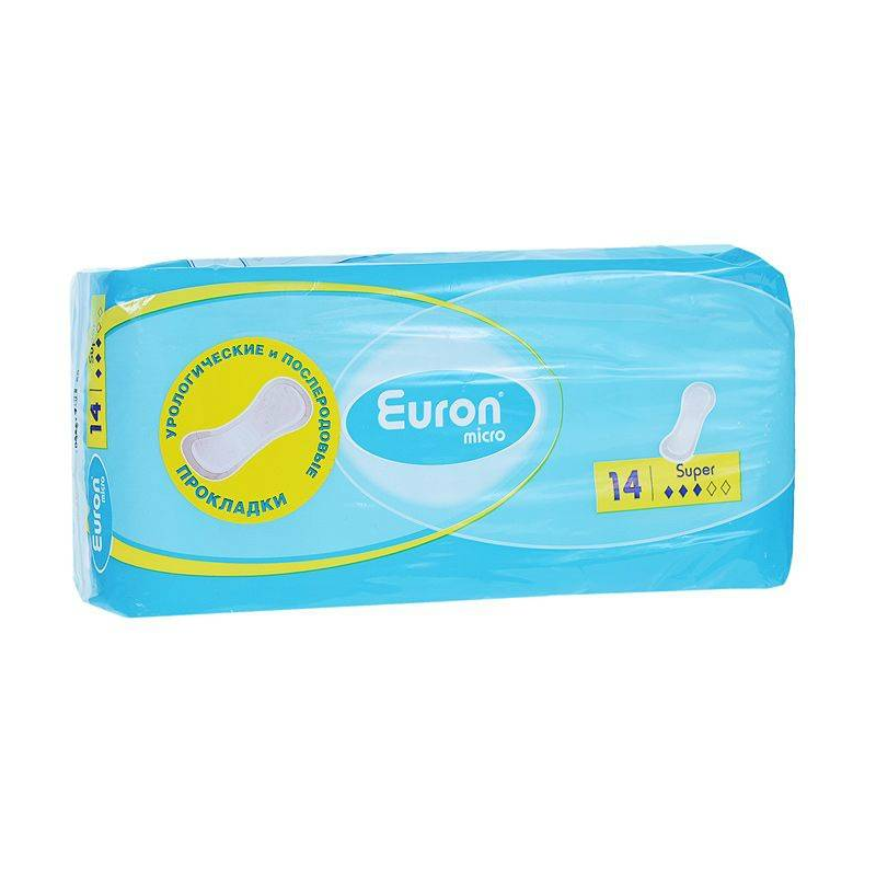 Послеродовые и урологические прокладки Micro Super 14 шт (Euron)