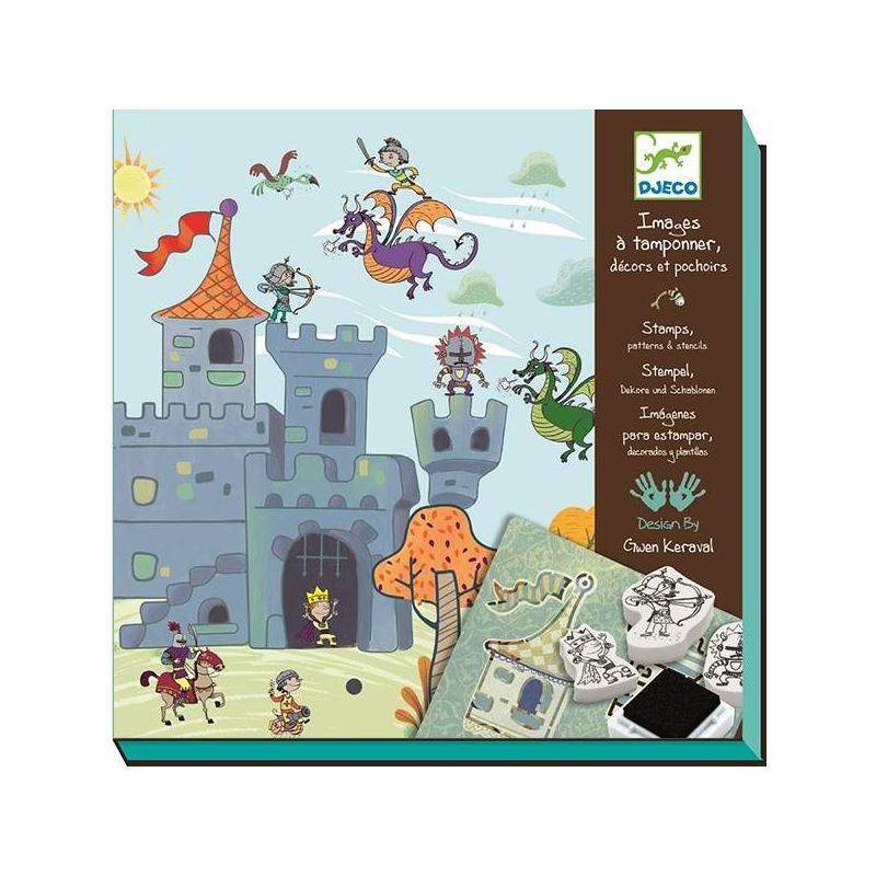 Набор штампов Создай историю РыцариНабор штампов Создай историю. Рыцари маркиDjeco.<br>Увлекательный сказочный мир с рыцарями и прекрасными дамами подарит вашему малышу набор со штампами Рыцари из серии Создай историю. Интересная и увлекательная игра с таким набором ребенку гарантирована!<br>Увлекательная история о приключениях рыцарей, их борьбе с коварными злодеями и встрече с прекрасными дамами предстанет перед вашим малышом на картинках из набора Рыцари.Посредством штампов и трафаретов ваш ребенок сможет придумать и создать на открытках необычайный, по-настоящему сказочный сюжет. Такая игра способствует развитию воображения, а работа со штампами будет приучать малыша к усидчивости и сосредоточенности. Яркие краски, интересный сюжет и яркая упаковка набора – все это сделает набор Рыцари прекрасным подарком для малышей.В наборе: карточки с фоном – 10 шт., штампы – 10 шт., трафарет – 3 шт., штемпельная подушечка – 1 шт., инструкция.<br><br>Возраст от: 6 лет<br>Пол: Не указан<br>Артикул: 634844<br>Бренд: Франция<br>Размер: от 6 лет
