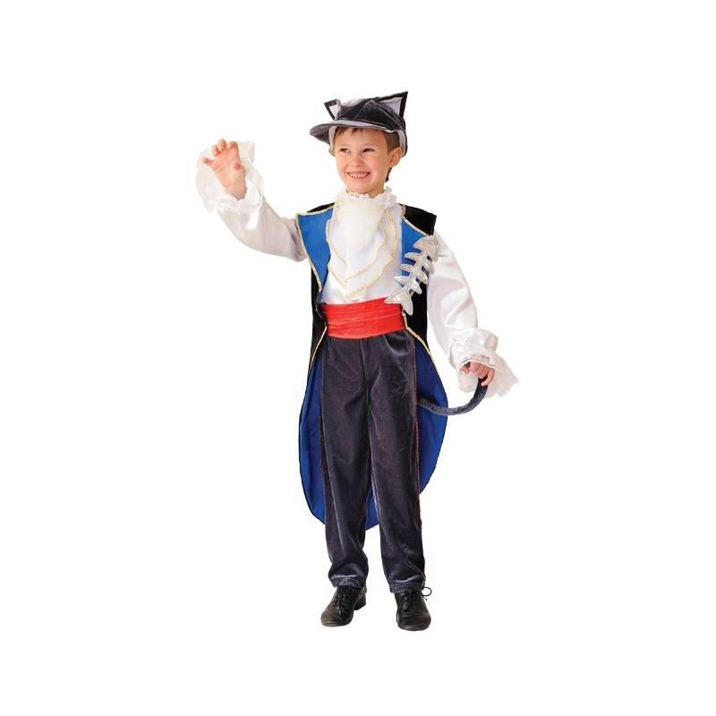 Карнавальный костюм КотКарнавальный костюм Кот маркиВитус.Карнавальный костюм Кот состоит из рубашки с жабо, фрака, брюк и шапки-маски. На любом детском празднике ваш мальчик будет выглядеть ярко и оригинально.<br>Внимание! Обувь в комплект не входит.<br><br>Размер: 8 лет<br>Цвет: Серый<br>Рост: 128<br>Пол: Для мальчика<br>Артикул: 632812<br>Бренд: Белоруссия