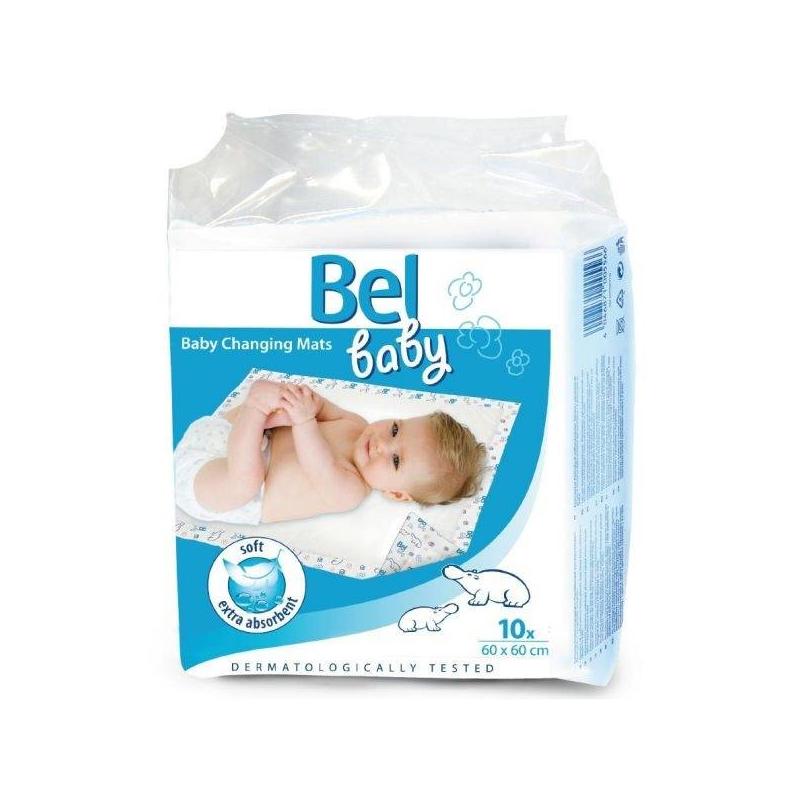 Впитывающие пеленки 10 шт.Детские впитывающие пеленки марки Bel Baby, размер 60х60 см, 10 шт.<br>Детские впитывающие пеленки Bel Baby предназначены для дополнительной защиты колясок, кроваток, постельного белья и пеленальных столиков. Идеальны для чувствительной кожи детей. Изготовлены из гипоаллергенного материала.<br>Мягкий верхний слой пеленок итальянской компании Bel Baby быстро впитывает и проводит влагу во внутренний слой, оставляя поверхность сухой. Внутренний слой изготовлен из распушенной целлюлозы. Пеленки прошли дерматологические исследования.На поверхности впитывающих пеленок Bel Baby изображены симпатичные и забавные бегемотики. Изделие рекомендуется использовать во время прогулок, поездок, при посещении детских учреждений, для домашнего применения, при проведении гигиенических процедур.<br><br>Возраст от: 0 месяцев<br>Пол: Не указан<br>Артикул: 628103<br>Бренд: Италия<br>Размер: от 0 месяцев