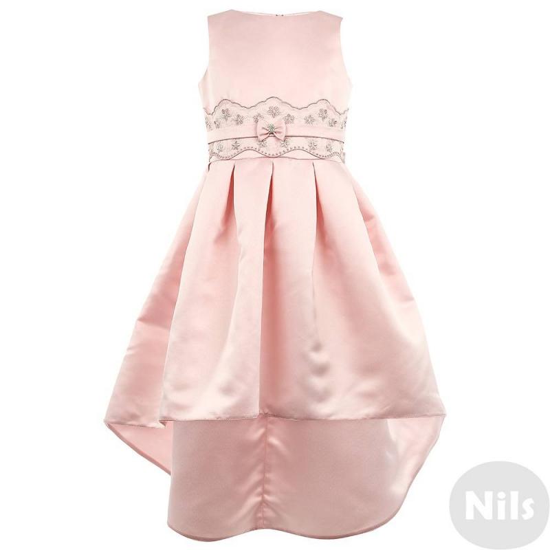 ПлатьеПлатьесветло-розовогоцвета марки Fansy Way для девочек.<br>Праздничное платьес небольшим шлейфом выполнено из гладкого атласа, имеет пышную юбку с плиссировкой, дополнено двумя карманами по бокам. Топ с короткими бретельками дополнен хлопковой подкладкой. Пояс декорирован кружевом с вышивкой и атласной лентой с бантиком и стразами. Застегивается платье на молнию и шнуровку на спине.<br>Нарядное платье Fansy Wayстанет самым изысканным нарядом на праздничном мероприятии.<br><br>Размер: 11 лет<br>Цвет: Розовый<br>Рост: 146<br>Пол: Для девочки<br>Артикул: 634334<br>Страна производитель: Россия<br>Сезон: Осень/Зима<br>Состав верха: 100% Полиэстер<br>Состав подкладки: 100% Хлопок<br>Бренд: Россия