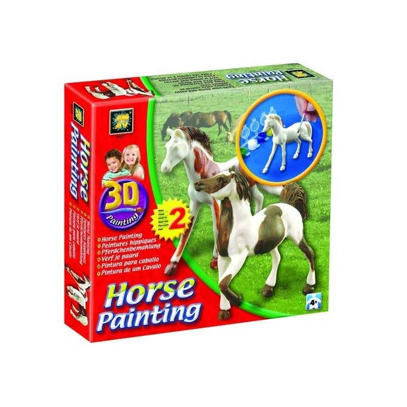 """Набор Разрисуй лошадей 3DНабор для раскрашивания марки Diamant Разрисуй лошадей3D.<br>Набор позволит юному художнику создать неповторимые фигурки лошадей. Ребенок на свой вкус может раскрасить гипсовые модели. А потом использовать ихв своих играх.<br>Основой для раскрашивания являются фигурки из гипса, которые дополнительно помещены в пузырчатую упаковку для защиты от сколов. Инструкция содержит контуры фигуроки позволяет потренироваться в ней перед основной работой. Крышечки контейнеров для красок плотно закрываются, ребенку понадобится ваша помощь, чтобы их открыть. Густые акриловые краски дают глянцевую поверхность, их можно не разбавлять водой. Для смены краски кисточку надо промыть в воде. После раскрашивания надо дать краскам высохнуть около часа.Набор для творчества """"Разрисуй лошадей"""" 3D развивает: -моторику пальцев -пространственное мышление -художественные навыки -усидчивость Высота фигурок - около10 смВ набор входят акриловые краски 6 цветов в отдельных контейнерах, кисточка.<br><br>Возраст от: 4 года<br>Пол: Не указан<br>Артикул: 630686<br>Бренд: Израиль<br>Размер: от 4 лет"""