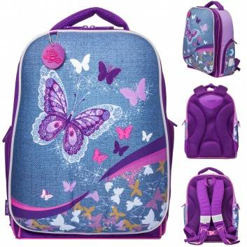 Школа, Рюкзак школьный Expert Collection Denim Butterfly  (фиолетовый)278687, фото