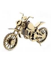 Конструктор 3D деревянный подвижный Мотоцикл Кросс 75 деталей Lemmo