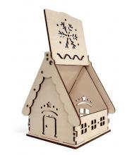 Конструктор 3D деревянный подвижный Домик Новогодний 10 деталей Lemmo