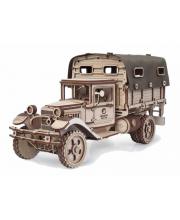 Конструктор 3D деревянный Грузовик Полуторка Тент 261 деталь Lemmo