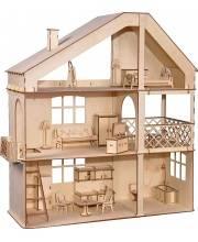 Кукольный дом Гранд коттедж с верандой и мебелью 276 деталей ХэппиДом