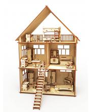 Конструктор-кукольный домик Коттедж с мебелью 276 деталей ХэппиДом