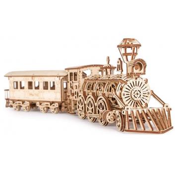 Механическая сборная модель Локомотив R17 с рельсами 405 деталей Wood Trick, цвет бежевый, артикул 271596, фото, цены - купить в интернет-магазине Nils в Москве