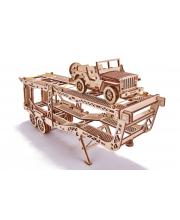 Механический 3D-пазл из дерева Прицеп Автовоз 229 деталей Wood Trick