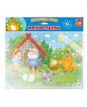 Мягкие пазлы Сказки Курочка Ряба А4 24 элемента Vladi Toys