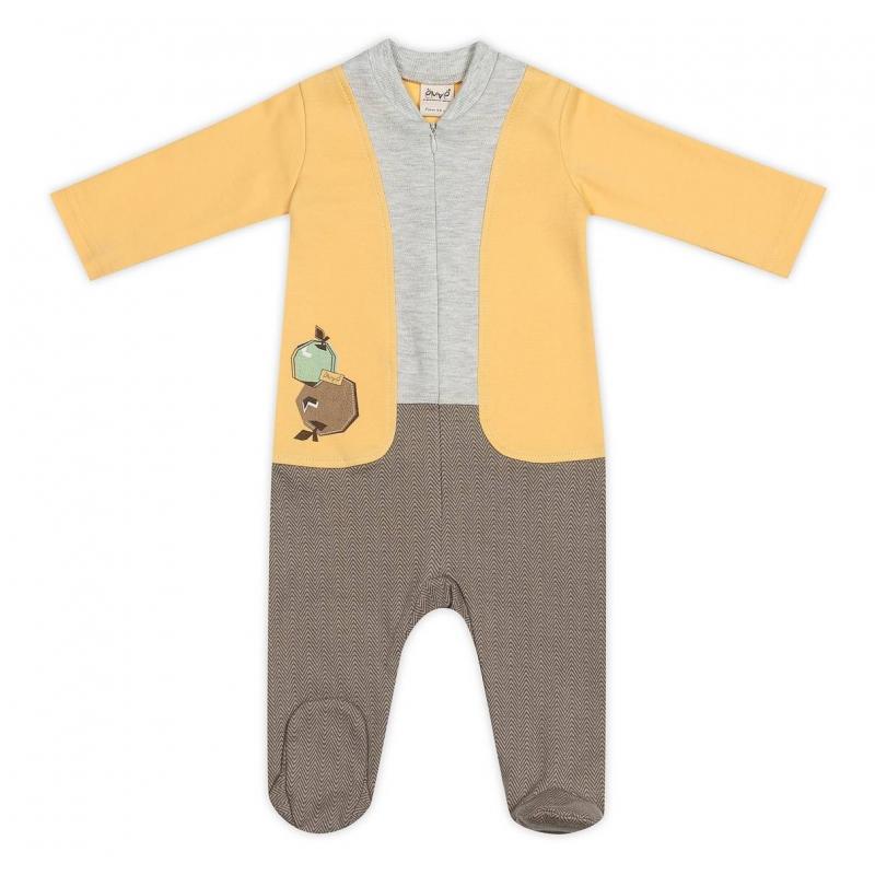 КомбинезонКомбинезон желто-серого цвета марки Ёмаё для мальчиков.<br>Комбинезон выполнен из стопроцентного хлопка, имеет длинные рукава и закрытые ножки, застегивается по всей длине спереди на молнию. Комбинезон по крою имитирует штанишки, кофточку и жилет. Спереди комбинезон украшен принтом с изображением яблок.<br><br>Размер: 6 месяцев<br>Цвет: Желтый<br>Рост: 68<br>Пол: Для мальчика<br>Артикул: 635787<br>Страна производитель: Россия<br>Сезон: Всесезонный<br>Состав: 100% Хлопок<br>Бренд: Россия<br>Вид застежки: Молния