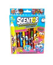 Карандаши цветные ароматизированные тонкие 24 шт Scentos
