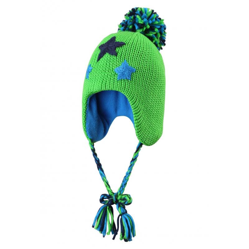 ШапкаТеплаяшапка зеленогоцвета марки REIMA для мальчиков. Шапка из полушерстяного трикотажа крупной вязки дополнена мягкой флисовой подкладкой с утеплителем в области ушей, который защищает от ветра. Шапка украшена вышивкой со звездами, помпоном и завязками с кисточками.<br><br>Размер: 4 года<br>Цвет: Зеленый<br>Размер: 52<br>Пол: Для мальчика<br>Артикул: 603702<br>Страна производитель: Китай<br>Сезон: Осень/Зима<br>Состав: 50% Шерсть, 50% Акрил<br>Состав подкладки: 100% Полиэстер<br>Бренд: Финляндия<br>Тип: Зима<br>Серия: Reima