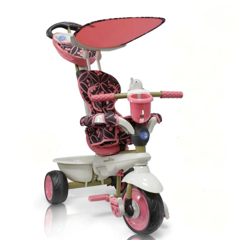 Велосипед трехколесный Dream Touch SteeringВелосипед трехколесный розовогоцветаDream Touch Steeringмарки Smart Trike.<br>Трехколесный велосипед Smart Trike Dream Touch Steering предназначен для малышей от 12 месяцев. Мягкое удобное сиденье, оборудованное 3-точечными ремнями безопасности и защитным поручнем, сделает прогулку не только комфортной, но и максимально безопасной.<br>Основные характеристики:<br>- Четыре трансформации под возраст ребенка;<br>- Подстаканник;<br>- Амортизация переднего колеса;<br>- Управление рулем при помощи родительской ручки;<br>-Телескопическая съемная ручка регулируется по высоте;<br>-Уникальная система управления Touch Steering - работает, когда руль отсоединён от колес (т.е вращается отдельно, фиксатор на руле находится в верхнем положении);<br>-Съемный козырек от солнца;<br>-Подстаканник и музыкальный игрушечный телефон;<br>-Облегченная металлическая конструкция;<br>-Мягкие и бесшумные EVA колеса;<br>-Амортизаторы на передней подвеске;<br>-Механизм отключения педалей;<br>-Складные нескользящие педали.<br>Размеры:85х54х105 см<br>Вес: 7,9 кг<br><br>Цвет: Розовый<br>Возраст от: 12 месяцев<br>Пол: Для девочки<br>Артикул: 634952<br>Страна производитель: Китай<br>Бренд: Израиль<br>Размер: от 12 месяцев