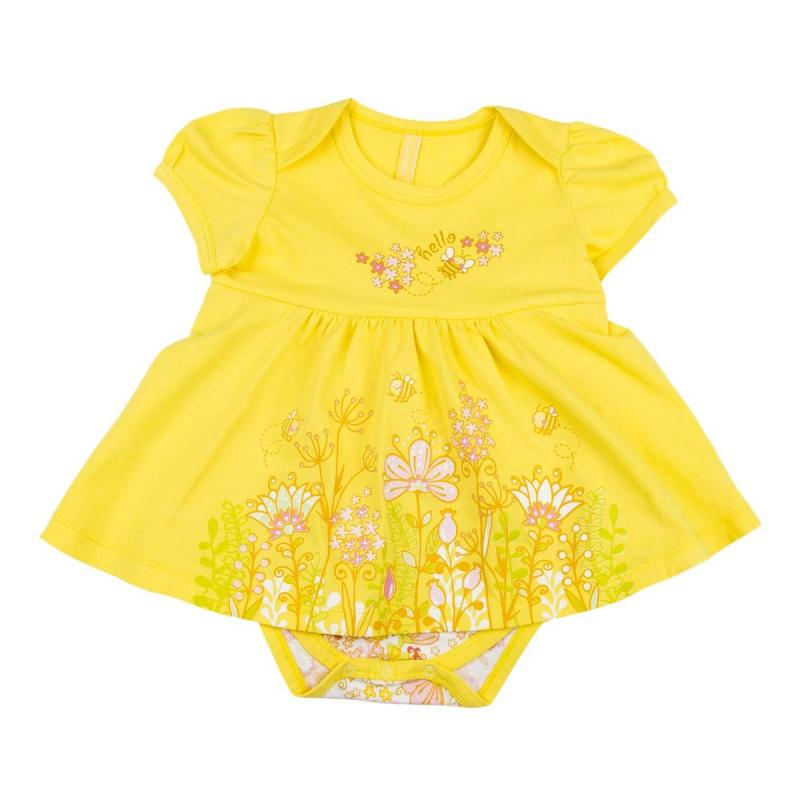 БодиБоди желтогоцвета маркиKOGANKIDS для девочек.<br>Боди с короткимрукавом выполнено из чистого хлопка и декорировано ярким летним принтом, а также милой юбочкой. Застегивается на кнопки по шаговому шву для удобства переодевания малышки.<br><br>Размер: 6 месяцев<br>Цвет: Желтый<br>Рост: 68<br>Пол: Для девочки<br>Артикул: 637203<br>Страна производитель: Узбекистан<br>Сезон: Всесезонный<br>Состав: 100% Хлопок<br>Бренд: Россия<br>Вид застежки: Кнопки