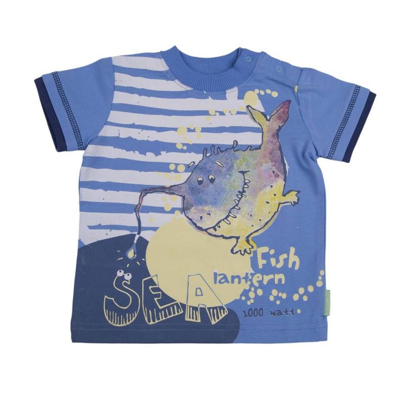 ФутболкаФутболкавасильковогоцвета марки KOGANKIDS для мальчиков. Футболка с коротким рукавом выполнена из мягкого хлопкового трикотажа, украшена принтомс изображением рыбки. Застегивается футболка на кнопкина плече.<br><br>Размер: 2 года<br>Цвет: Голубой<br>Рост: 92<br>Пол: Для мальчика<br>Артикул: 637441<br>Страна производитель: Узбекистан<br>Сезон: Весна/Лето<br>Состав: 92% Хлопок, 8% Эластан<br>Бренд: Россия<br>Вид застежки: Кнопки